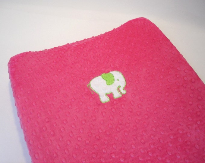 Minky Changing Pad Cover with Elephant PInk Lime Green