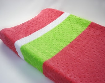 Watermelon Pink Color Blocked Changing Pad Cover