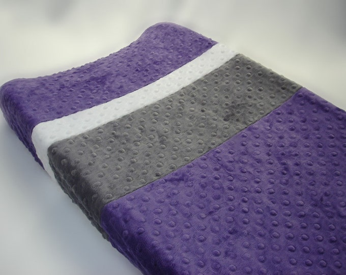 Grape Purple Changing Pad Cover with Stripes