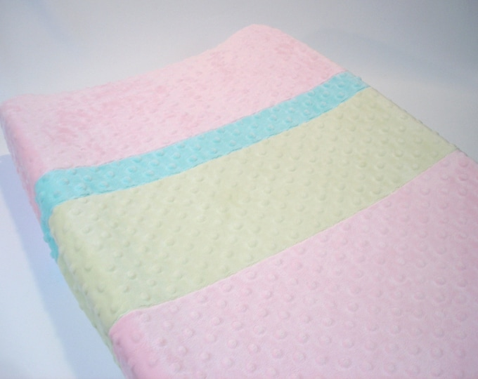 Blush Pink Changing Pad Cover with Stripes