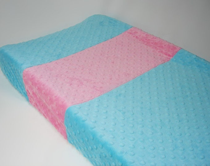 Sky Blue Changing Pad Cover with Stripes
