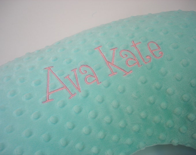 Personalized Embroidered Nursing Pillow Cover GreenBeans Font