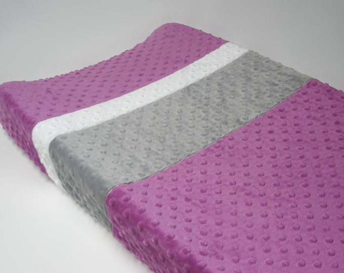 Berry Pink Changing Pad Cover with Stripes