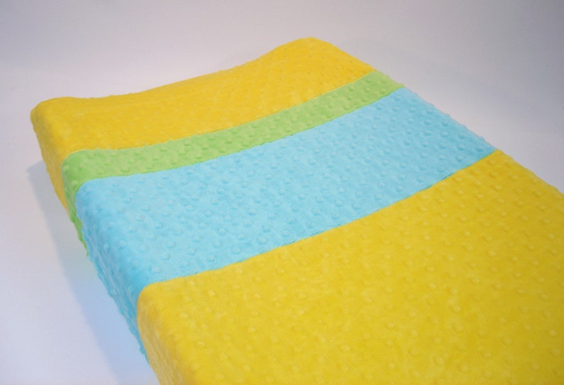 Lemon Yellow Changing Pad Cover with Stripes