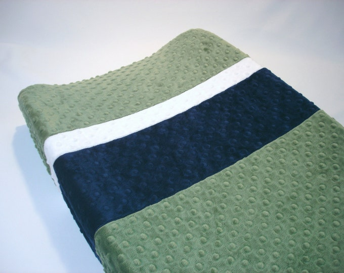Forest Green Changing Pad Cover with Stripes