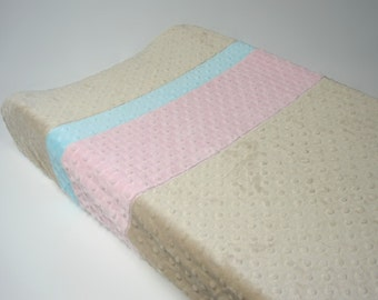 Latte Brown Changing Pad Cover with Stripes