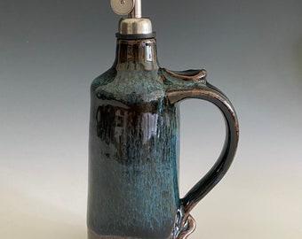 Pottery Olive Oil Cruet; Handmade Cruet; Olive Oil Container; EVOO Cruet