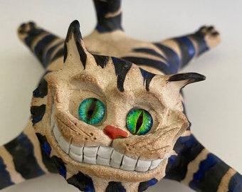 Cheshire Cat; Cat Sculpture; Pottery Sculpture