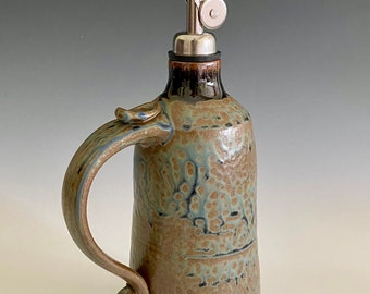 Pottery Olive Oil Cruet; Handmade Olive Oil Container; EVOO Server