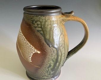 Handmade Pottery Stein; Pottery Beer Stein; Handmade Vase