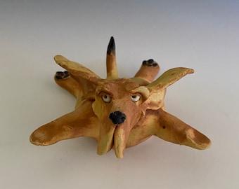Pottery Dog; Handmade Hound Dog; Pottery Dog Sculpture