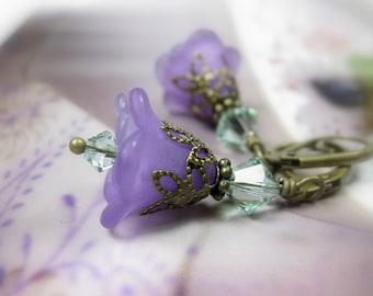 Flower Earrings, Purple Flower Earrings, Floral Jewelry, Lilac and Chrysolite Green Swarovski Crystal, Gift Ideas for Gardeners, Feminine