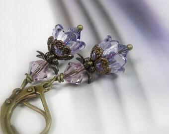 Purple Flower Earrings, Floral Swarovski Crystal Jewelry, Vintaj Brass Earrings, Dainty Feminine Earrings, Gift for Her