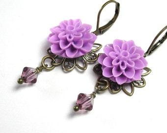 Lilac Swarovski Crystal Flower Earrings, Victorian Style Jewelry, Antiqued Brass, Flower Dangle Earrings, Floral Jewelry