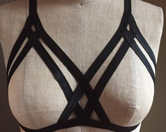 Double Cross Elastic Burlesque Surplice Frame Bra Choose a Colour Made to Order