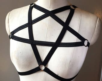 Pentagram Harness Burlesque Frame Bra Cage Halter Silver Hardware Choose a Colour of Elastic Made to Order