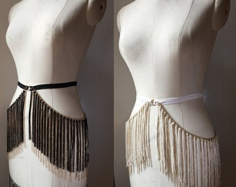 Fringe and Chain Burlesque Shimmy Belt with Elastic and Circle Detail Choose White or Black made to order