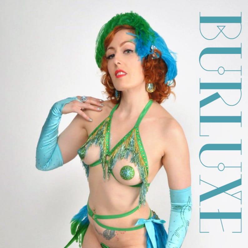 Marisol Shimmy Cage Bra Burluxe Burlesque Beaded Fringe image 0