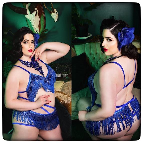 Fringe Belt Skirt Teal  Turquoise  Blue Burlesque Shimmy Fringe Cage Bra