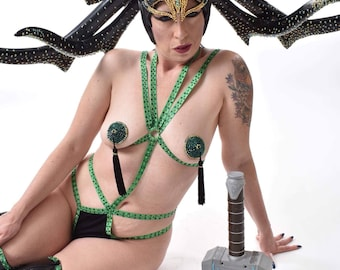 Deco Elastic Burlesque Halter Body Harness with Cage Panties Burluxe Playsuit
