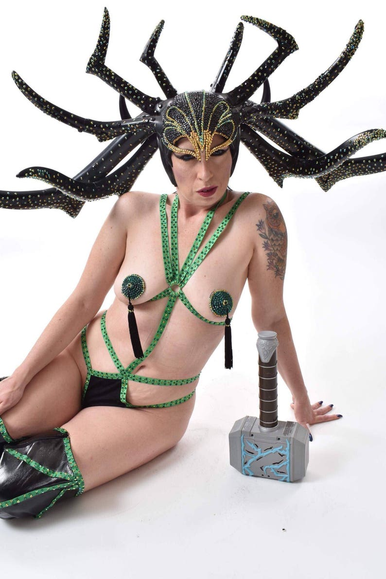 Deco Elastic Burlesque Halter Body Harness with Cage Panties image 0