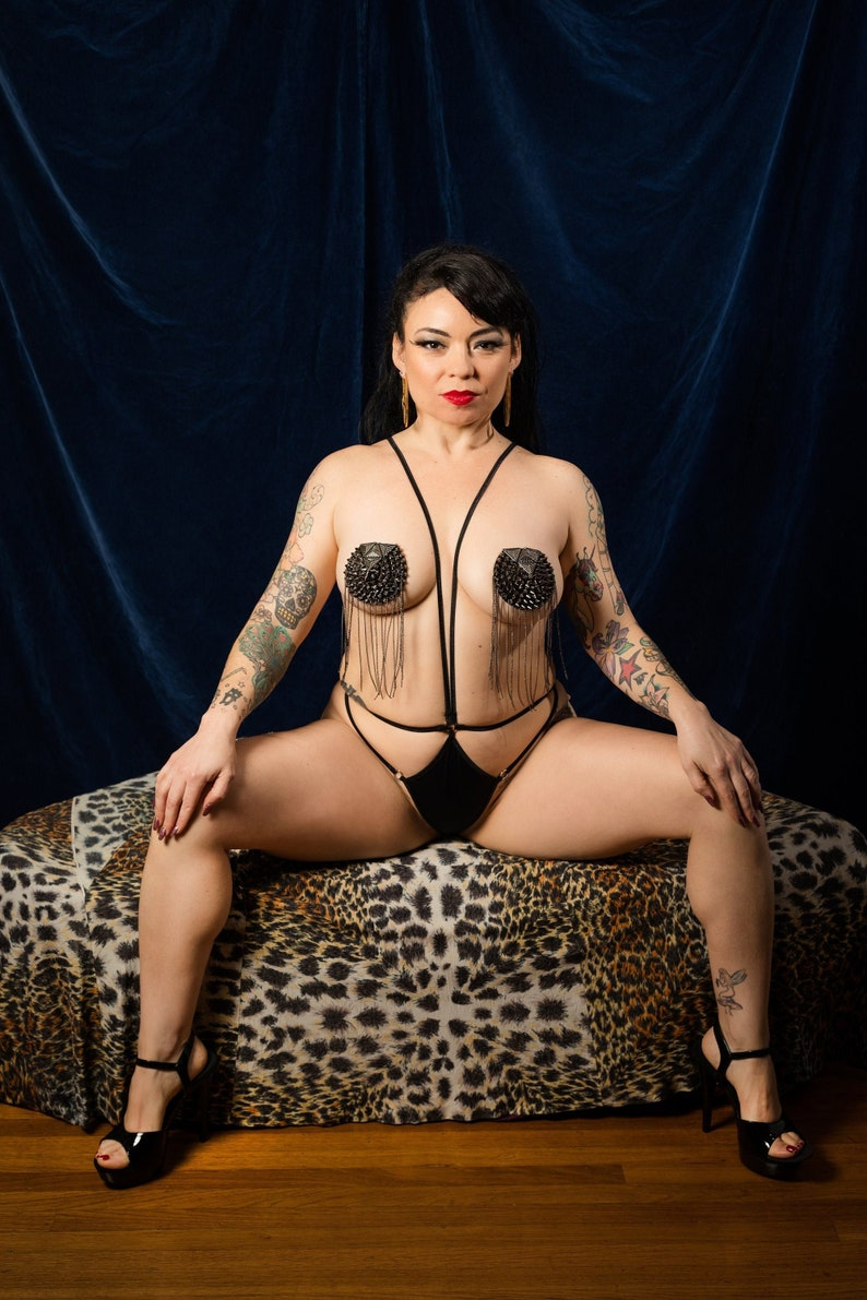 Lita Over Pasties Black Backing with Metal Studs and Chains image 0