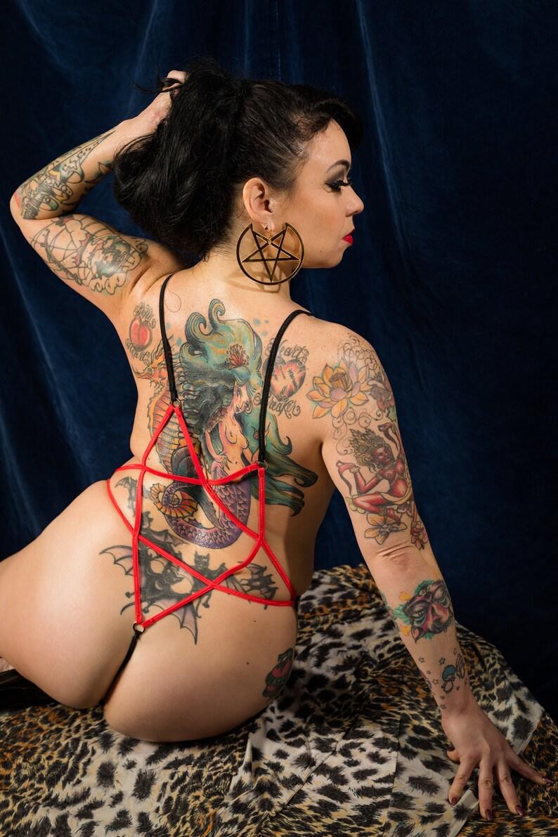 Aradia Pentagram Back Body Harness with Cage Panties Burluxe image 0
