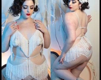 The Original Classic Delilah Shimmy Fringe Burluxe Cage Bra and Belt Burlesque Costume