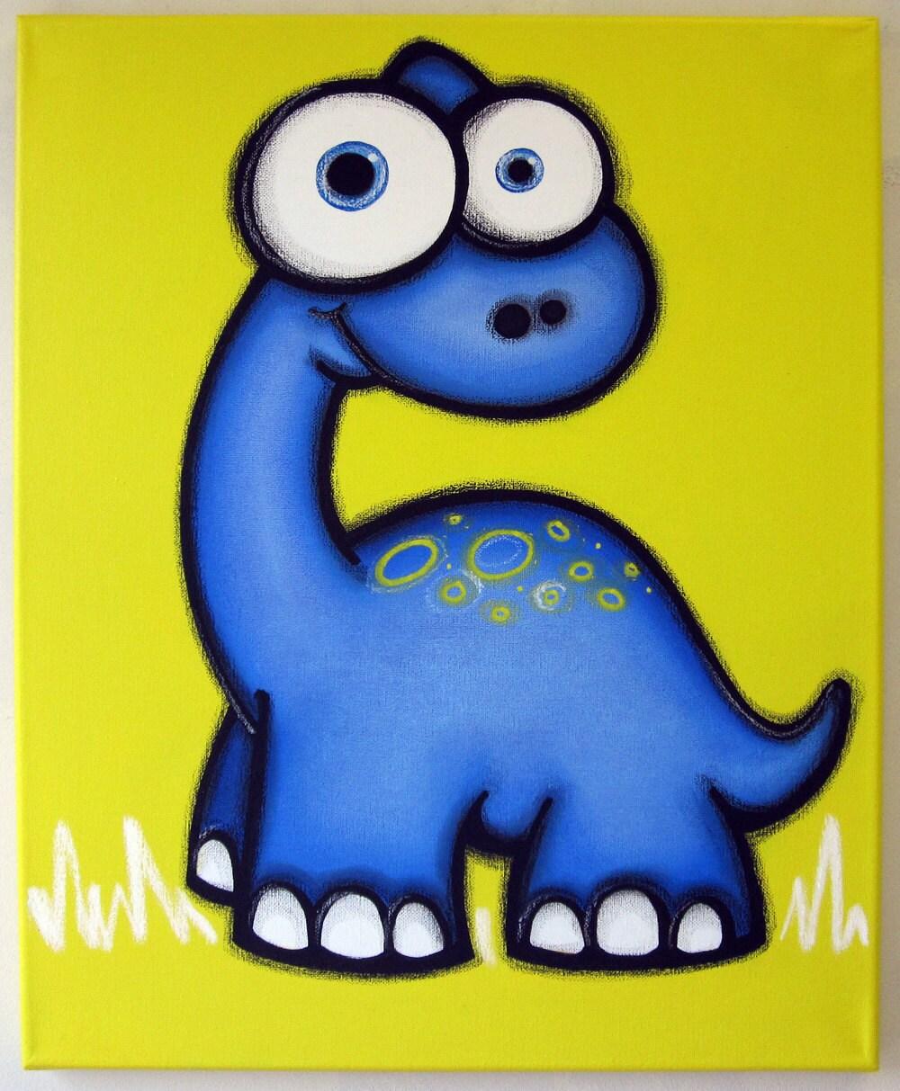 bLUe dINOSaUR 16 x 20 original painting dinosaur art for | Etsy