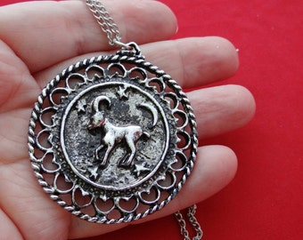 "Beautifully made and heavy Vintage NOS new old stock silver tone 24"" necklace with 2.25"" ARIES pendant in unworn condition"