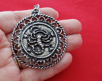 "Vintage New Old stock  24""  silver tone necklace with 2.25"" SCORPIO pendant in unworn condition"