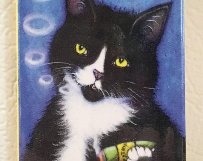 Charlie Smoking a Catnip Cigar 2x3 Tuxedo Cat Refrigerator Magnet