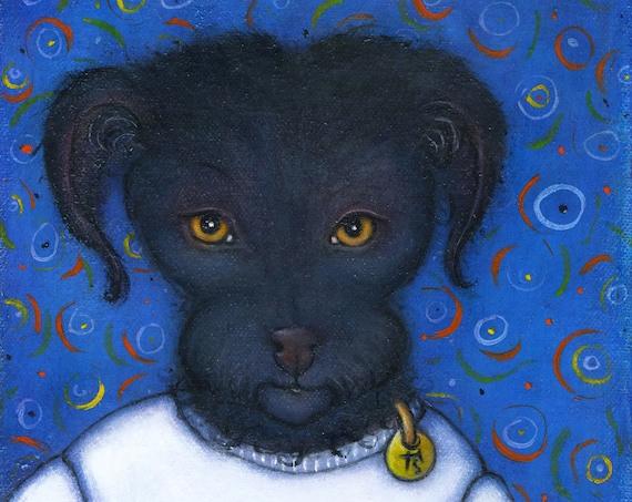 Poodle Terrier original oil painting by Heidi Shaulis. Pepper