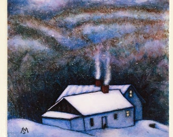 Ready to Hang Vermont Cat Print Almost Home. Mounted on wood panel. Free shipping