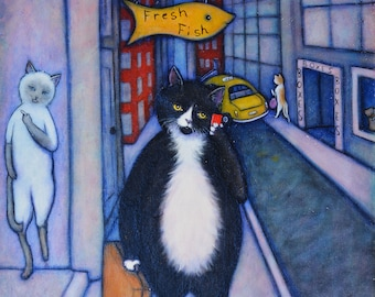 On My Way Home. Original Heidi Shaulis oil painting of Charlie tuxedo cat in the city