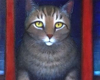 Brown Tabby Cat original oil painting. Wayne's Cat