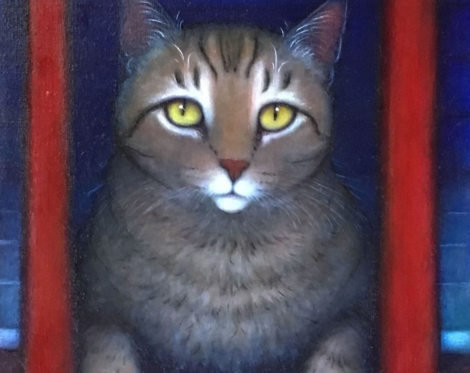 Brown Tabby Cat original oil painting. Wayne's Cat