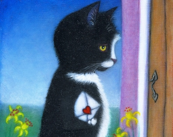 Tuxedo Cat Valentine original oil painting. The Love Letter