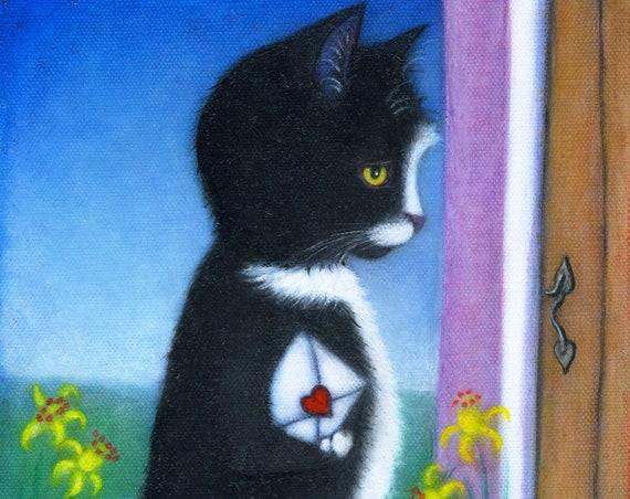 Tuxedo Cat Valentine original oil painting. The Love Letter