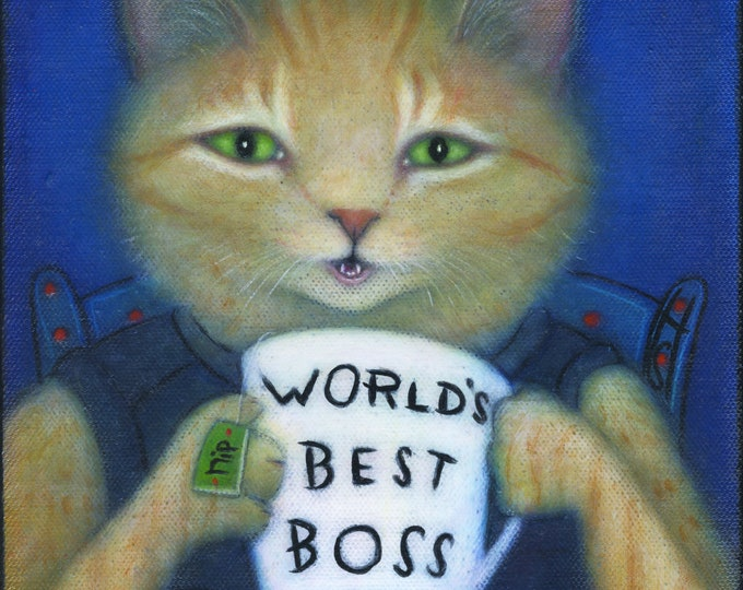 Featured listing image: World's Best Boss. Heidi Shaulis original cat tabby oil painting.