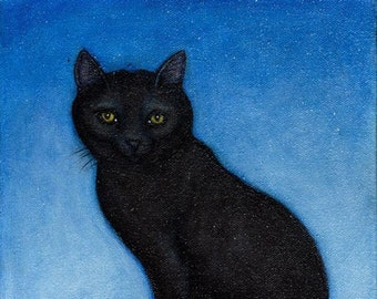Black Cat Christmas/Winter holiday Cards. set of 5