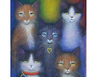 Rainbow Cats original oil painting by Heidi Shaulis