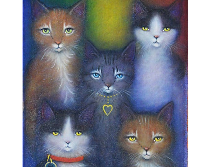 Featured listing image: Rainbow Cats original oil painting by Heidi Shaulis