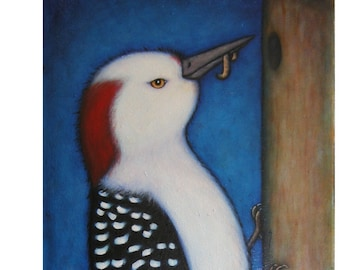 Red-bellied Woodpecker. Original Heidi Shaulis bird oil painting.