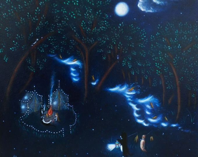 Cat's Camping in the Catskills aka the Cats' Paradise. Original Heidi Shaulis contemporary naive tuxedo cat oil painting