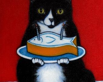 Happy Birthday.  8 x 10 Charlie tuxedo cat print