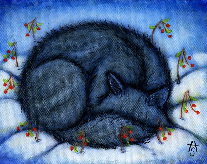 Fluffy Gray Cat in the Snow.  8 x 10 print