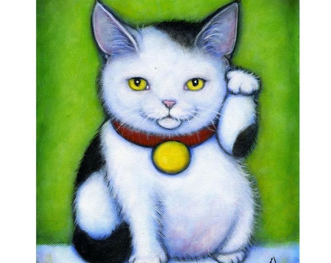 Black and White Maneki Neko.  Archival 8.5x11 tuxedo cat print