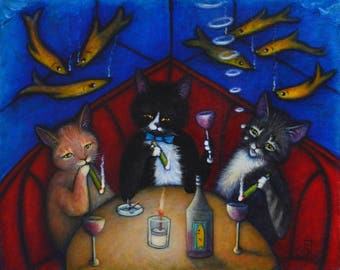 The Catnip Lounge. Charlie tuxedo cat art 8 x 10 print