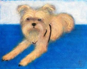 A Yorkie Named Rattler. Original Heidi Shaulis oil painting